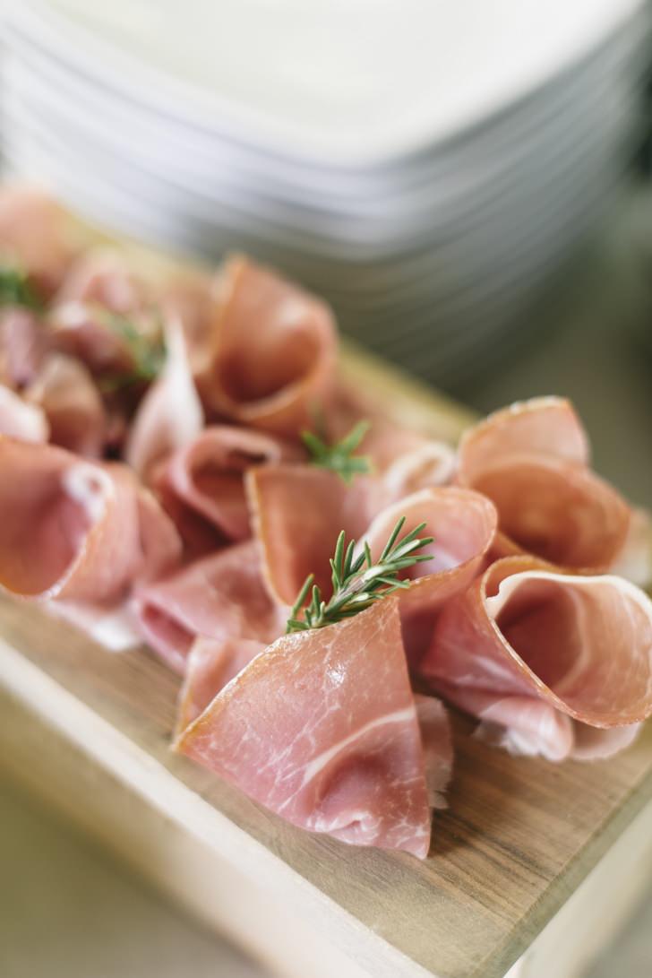 Freshly sliced Italian prosciutto