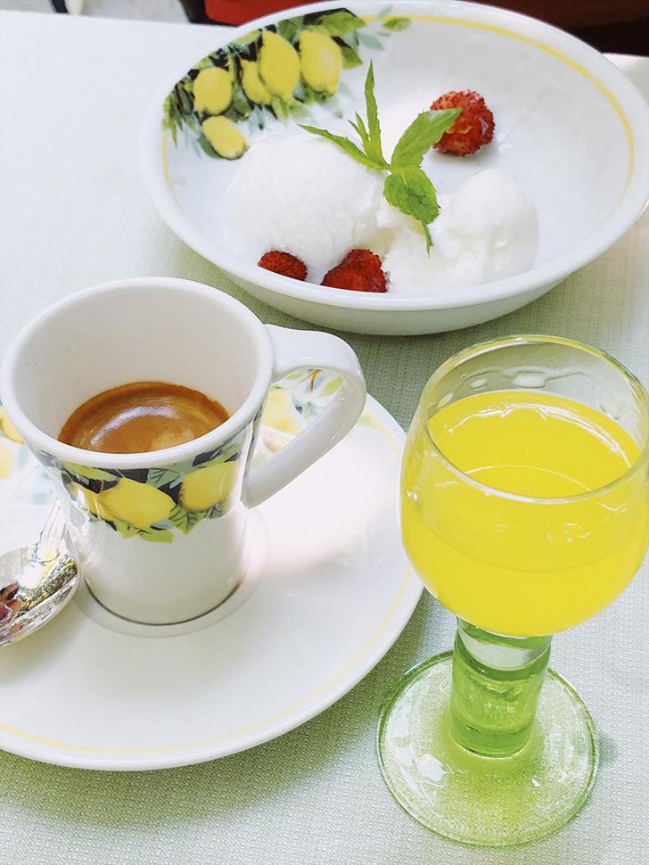 Italian coffee and limoncello
