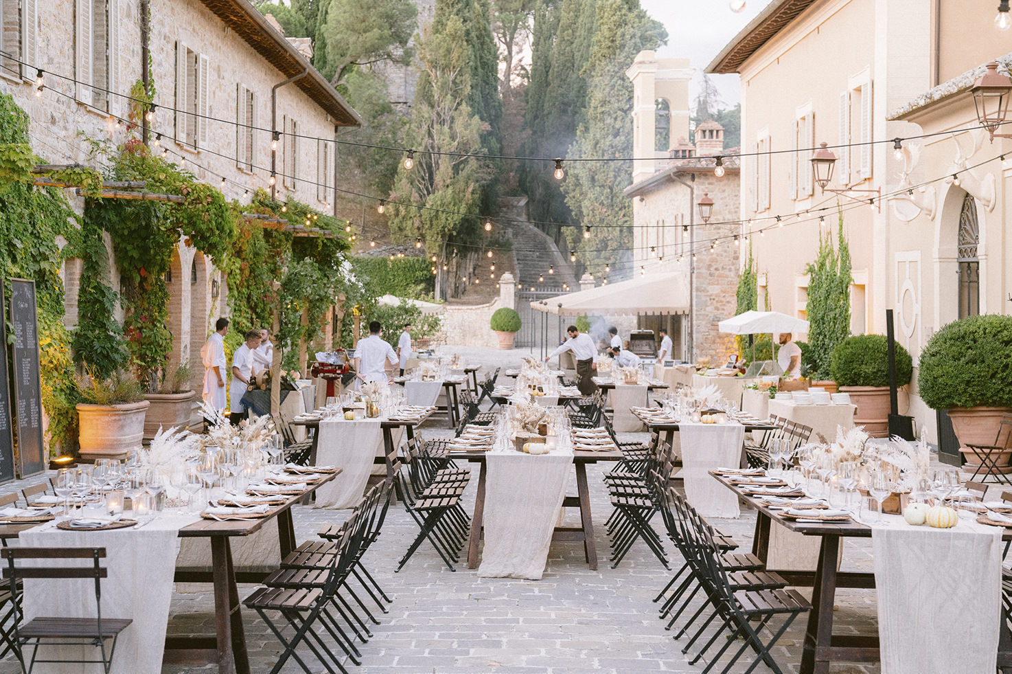 Outdoor rehearsal dinner in a Tuscan village