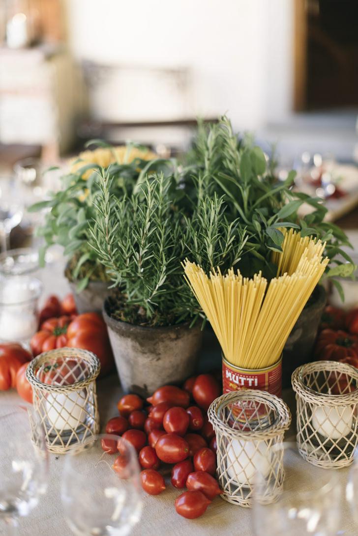Decorations for Italian dinner