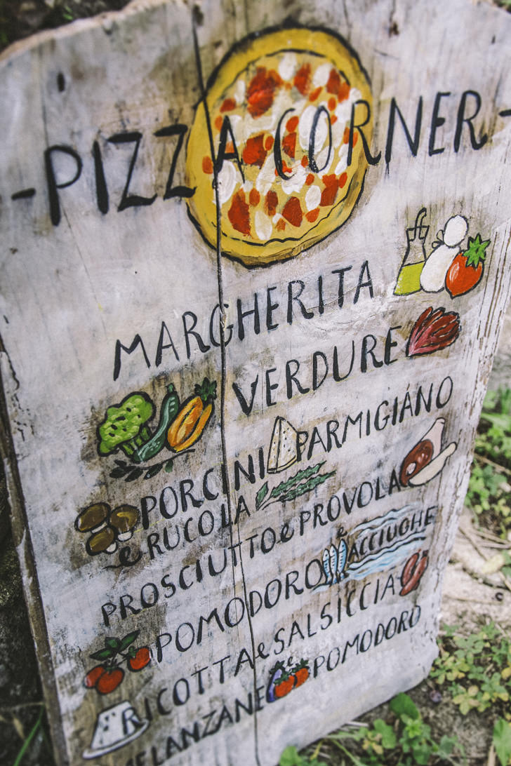 Hand painted sign for pizza corner