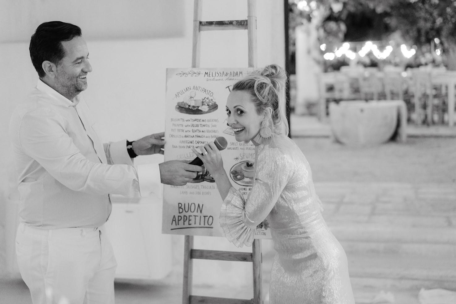 Bridal couple announcing the dinner menu