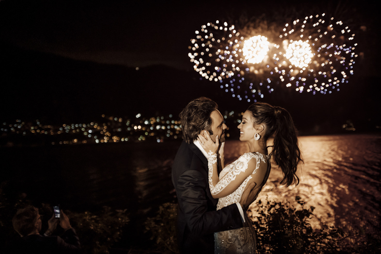 Fireworks for wedding on Lake Como