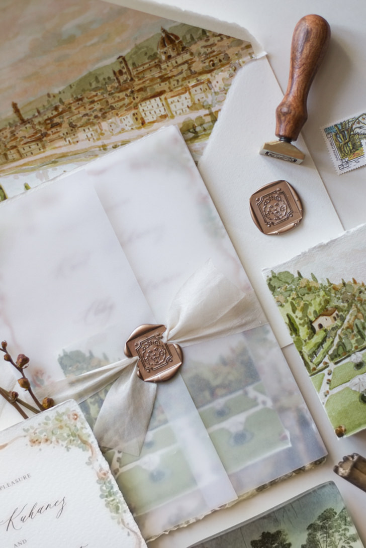 Copper wax seal for wedding stationery