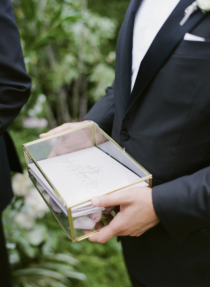 Groom with wedding vows
