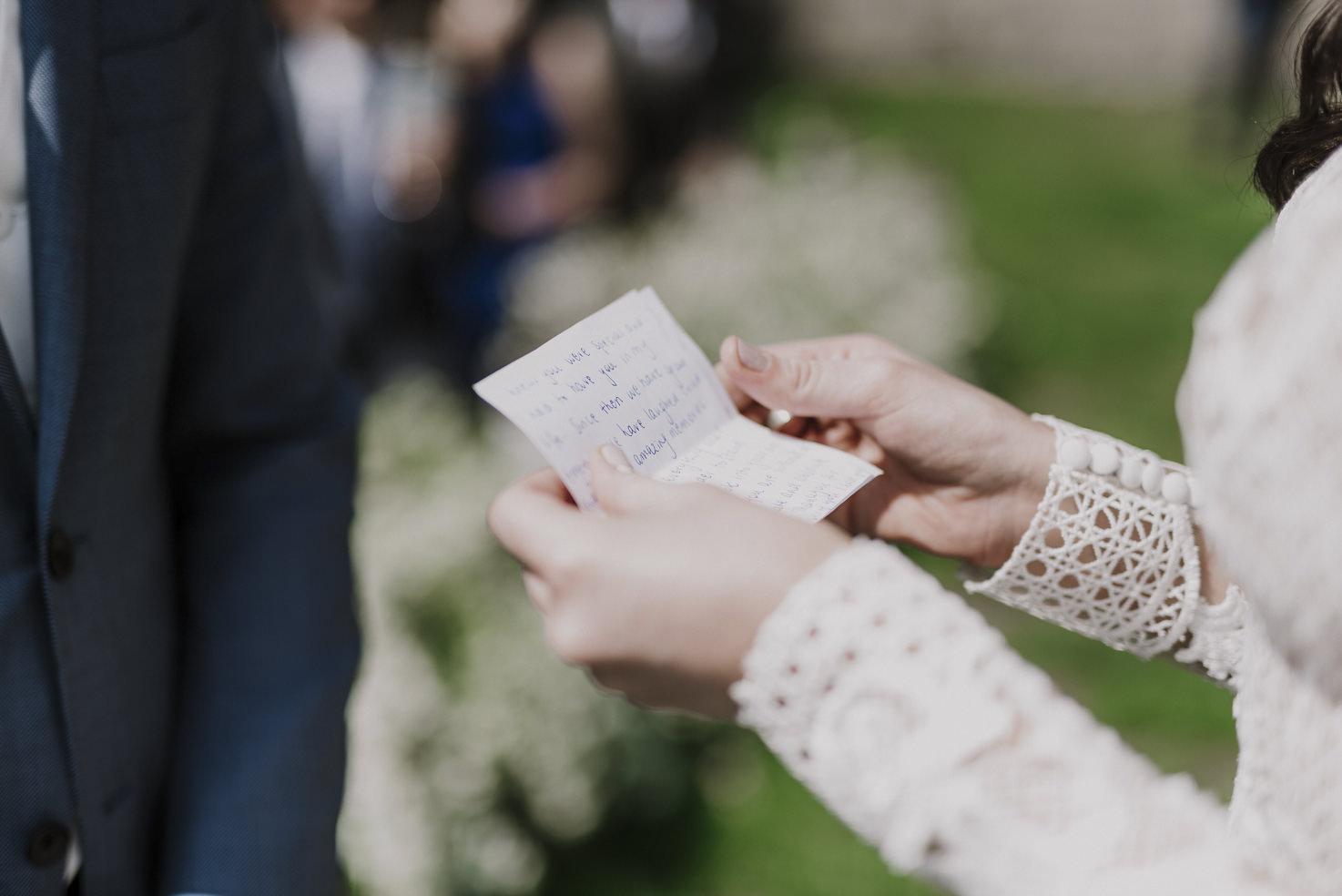 Vows reading at Italian wedding
