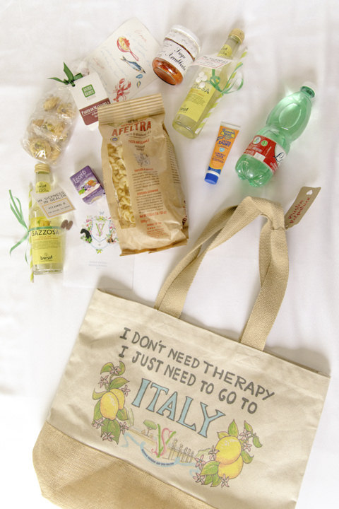 Welcome bag with Italian gifts