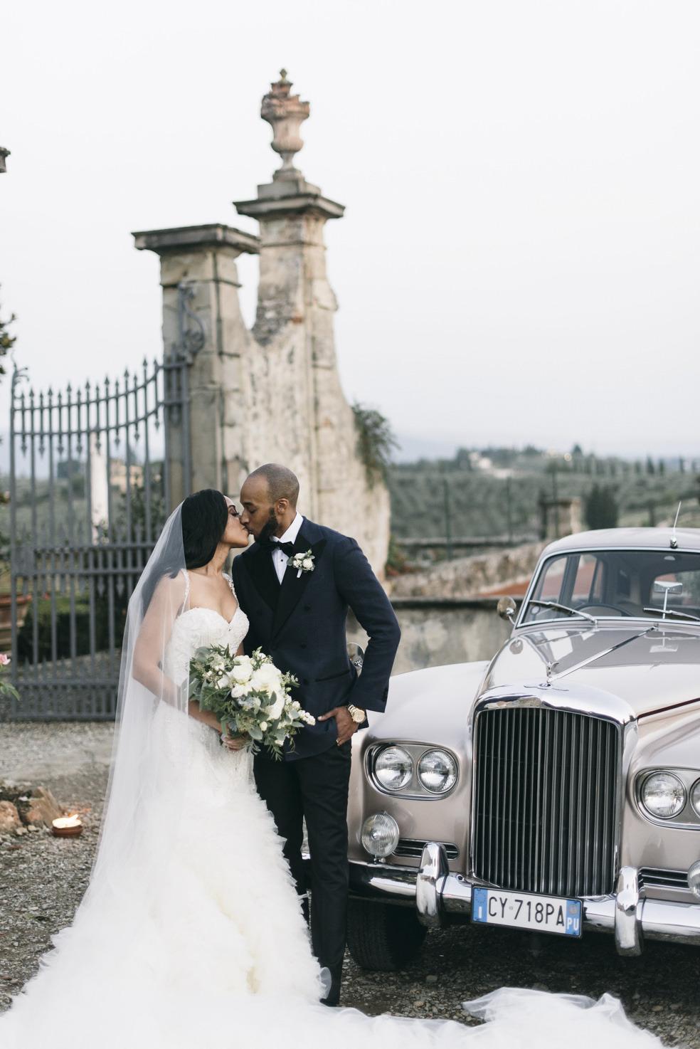 Luxury car for wedding in a Tuscan villa