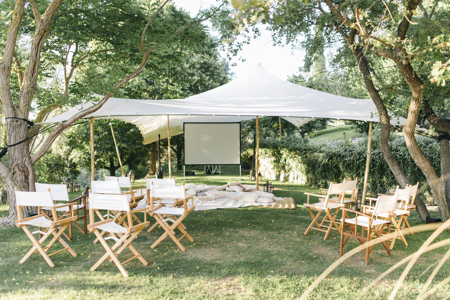 Movie night for wedding guests