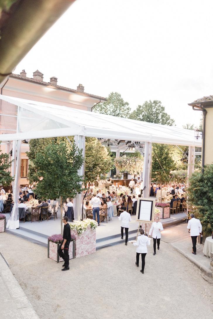Marquee for wedding reception at Il Borro