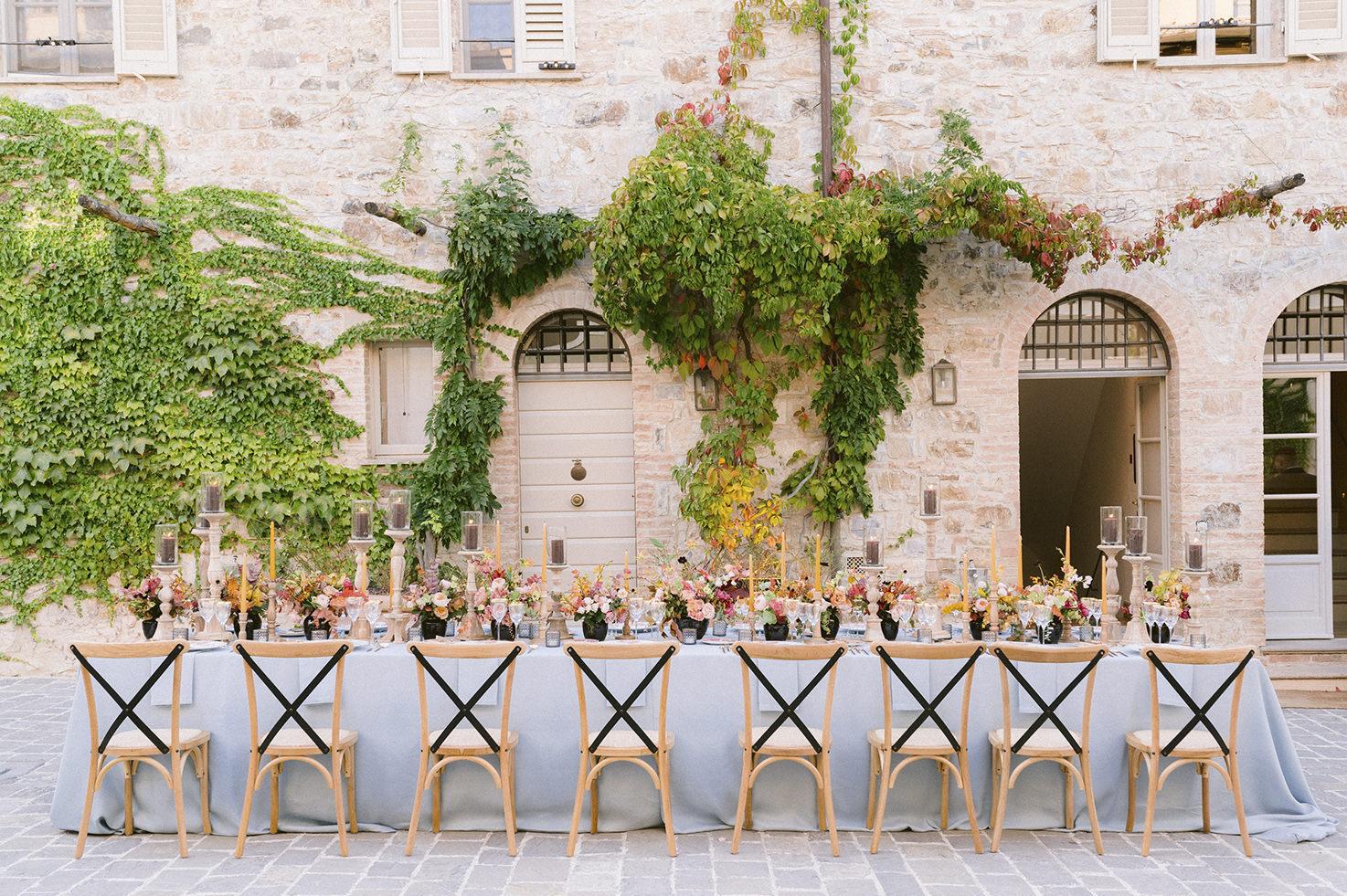 Decorations for wedding reception at Castiglion del Bosco in Tuscany