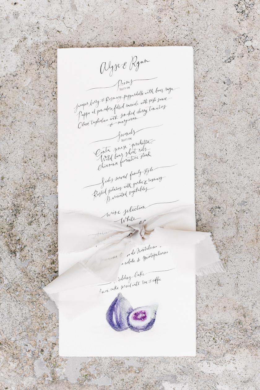 Watercolor menu for Tuscany Wedding