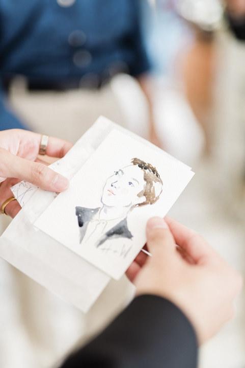 Watercolor portrait of a wedding guest