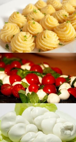 Duchess potatoes, Caprese salad and mozzarella
