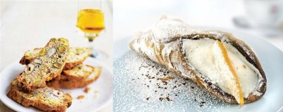 Cantucci and cannoli, traditional Italian sweets