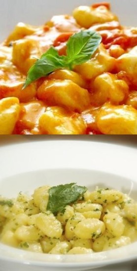 Gnocchi with tomatoes or pesto for wedding menu