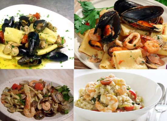Pasta and risotto with seafood for wedding menu