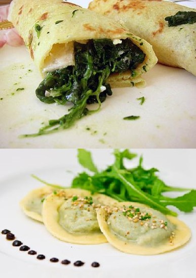 Crepes and ravioli filled with herbs for Italian wedding menu