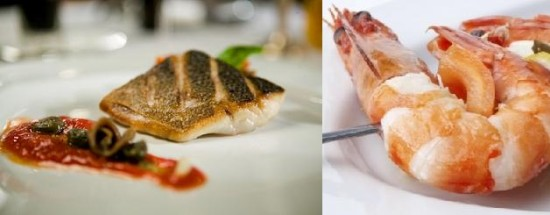 Fish and prawn, main courses for wedding menu