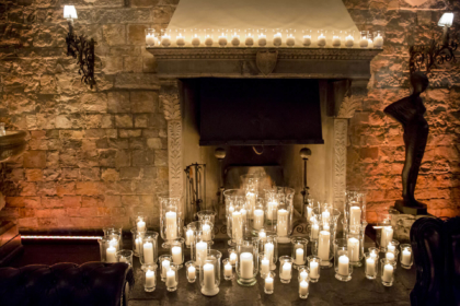 Decoration with candles for a fireplace
